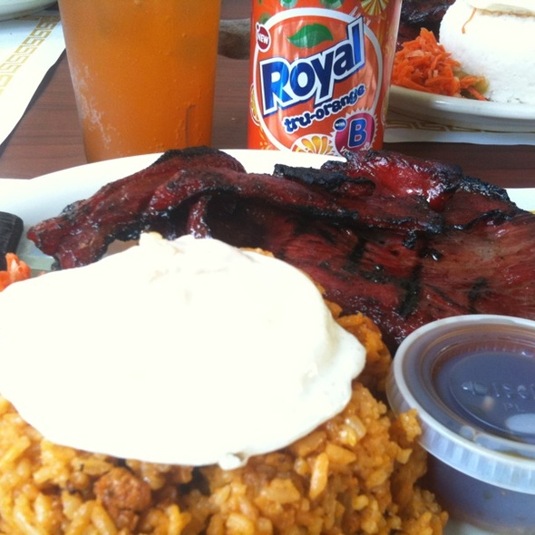 Grilled Tocino With Fried Egg Over Java Rice @ Toppings Too Restaurant