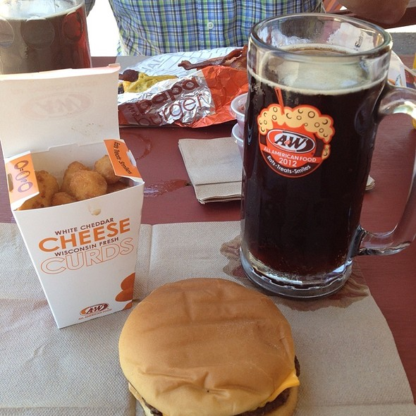 Cheeseburger. Wisconsin Cheese Curds, A & W Rootbeer @ A & W Hamburgers