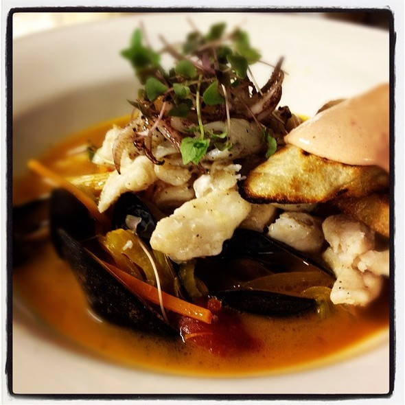 Agr Bouillabaisse, Grouper, Mussels, Calamari, Grilled Bread, Smoked Tomato Aioli - American Grocery Restaurant, Greenville, SC