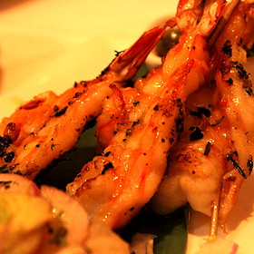 Jumbo Shrimp Scampi Skewers - Fleming's Steakhouse - Newport Beach
