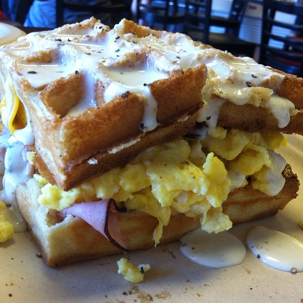 Country Ham and Egg Waffle Sandwich  @ Bread and Butter