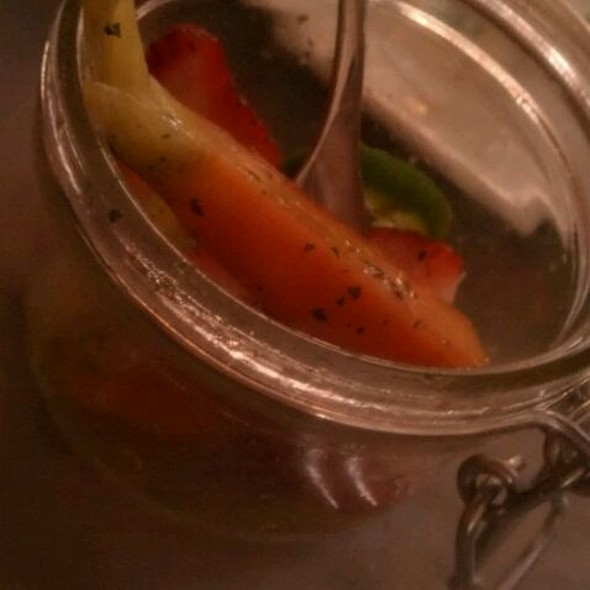 Luna Farms Pickled Baby Carrots And Jalapenos With Strawberries, Ricotta And Black Olive Tapanade @ Village Whiskey