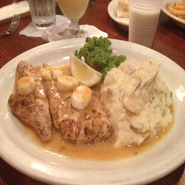 Jerked Snapper with Curry Banana Sauce with Mashed Red Potatoes @ Mango's Restaurant & Lounge