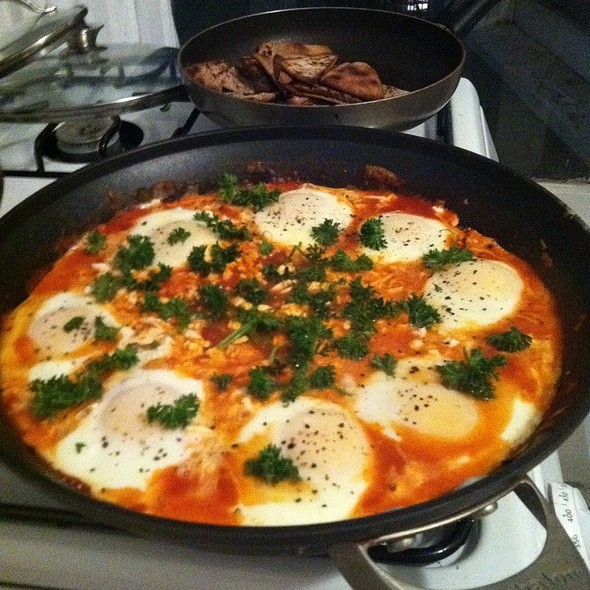 Poached Eggs And Red Sauce @ Home