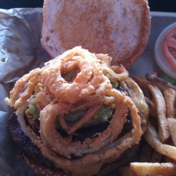 Chipotle, Guac & Cheddar Burger w/ Fried Onions @ Twisted Root Burger Co