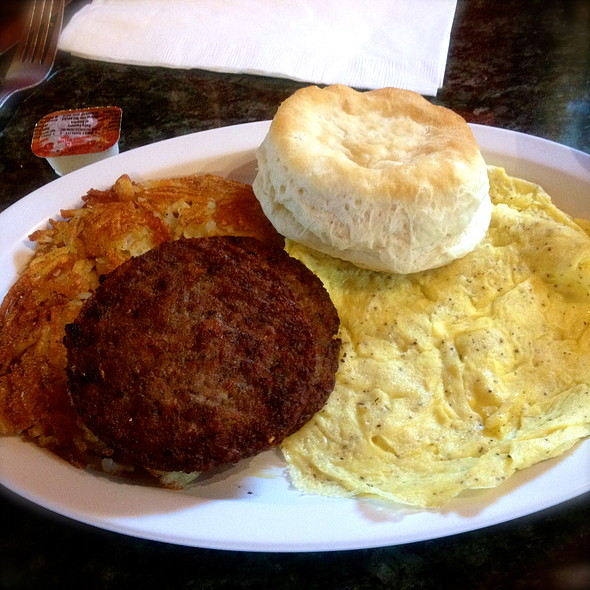 Scrambled Eggs, Hash Browns, Biscuit & Sausage @ Fredericksburg Coffee & Tea