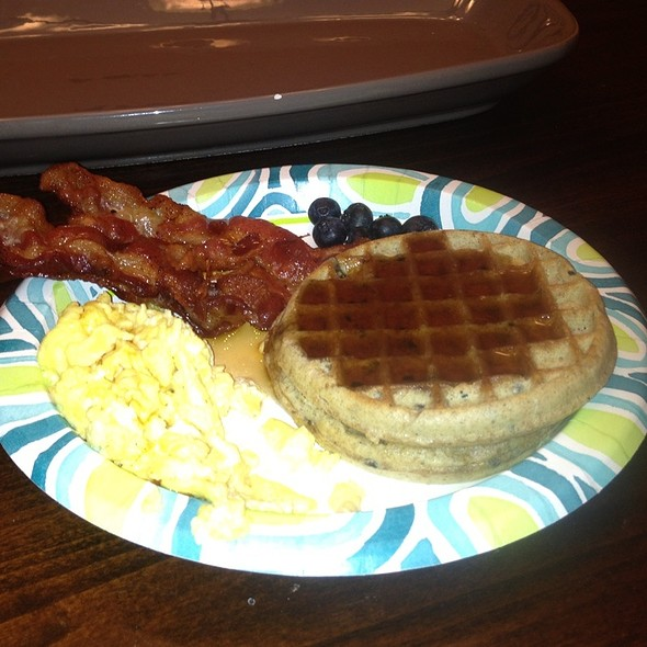 Blueberry Waffles With Eggs Bacon  @ My House