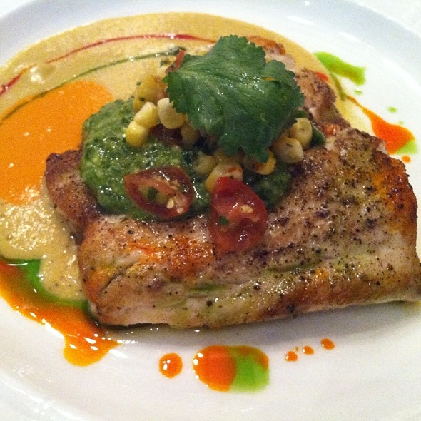 Wild Striped Bass With Roasted Corn Sauce, Jalapeno Pesto And Charred Corn-Tomato Salsa  @ Mesa Grill