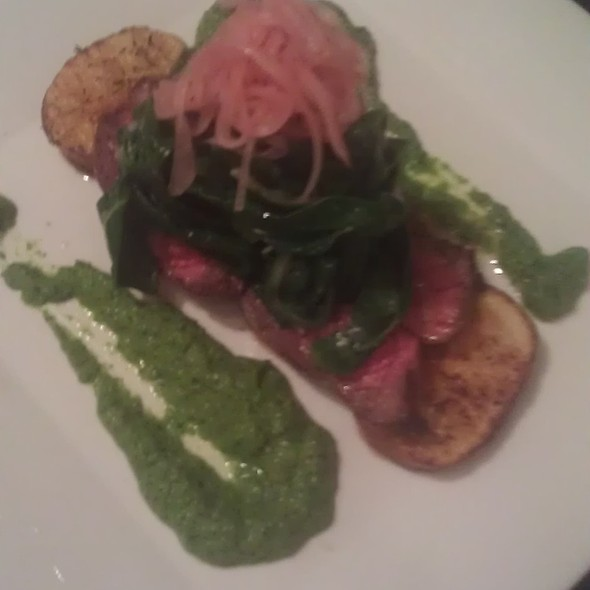 Beef Tenderloin with Crispy Roasted Potatoes, Wilted Greens, Pickled Red Onion and Herb Puree.  @ Bodega de Bax