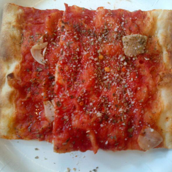 Tomato and Garlic Pizza @ farinella bakery