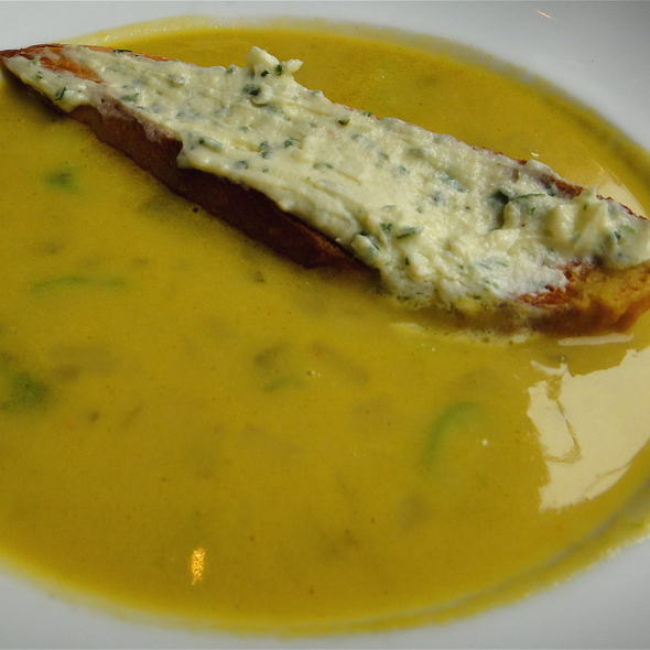 Asparagus Soup with Goat Cheese & Chives Brushetta @ Scala's Bistro