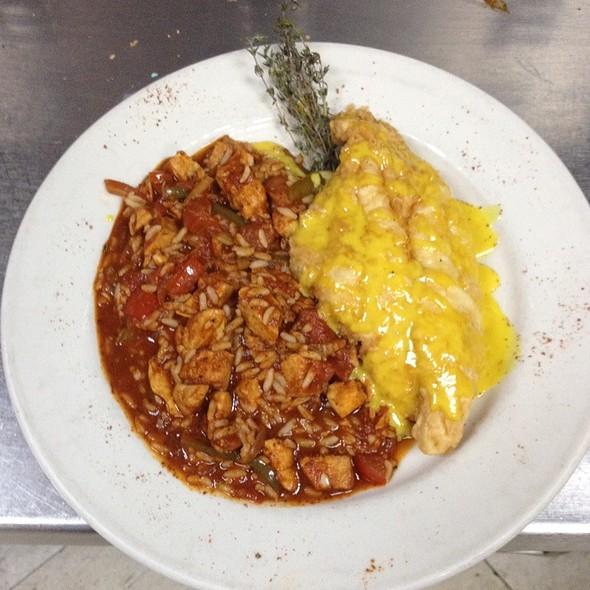 Mustard Fried Catfish With Chicken Jambalaya - High Street Caffe & Vudu Lounge, West Chester, PA