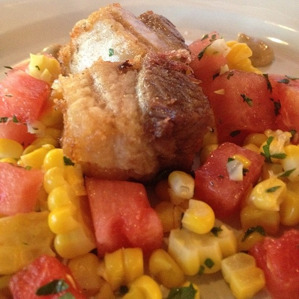 Crispy Pork Belly With Watermelon Corn Salad @ The Eatery
