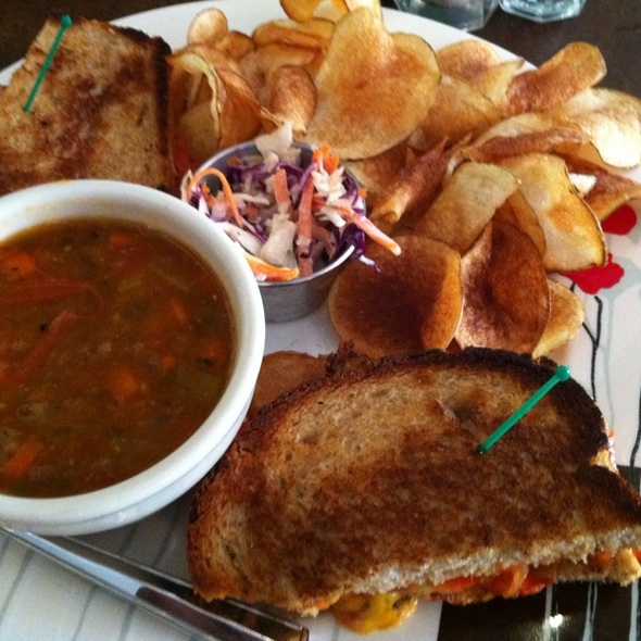 Grilled Cheese & Lentil Soup - The Black Sheep Restaurant At The Kendall Hotel, Cambridge, MA