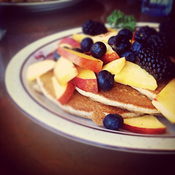 Seasonal Fruit Favorites Whole Wheat Pancakes at Hobee's Restaurant