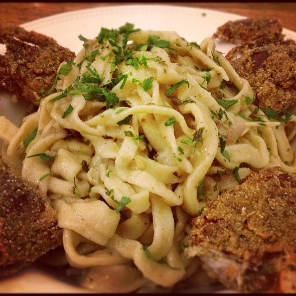 Homemade Pasta With White Clam Sauce And Cajun Soft Shell Crabs @ The Stern's