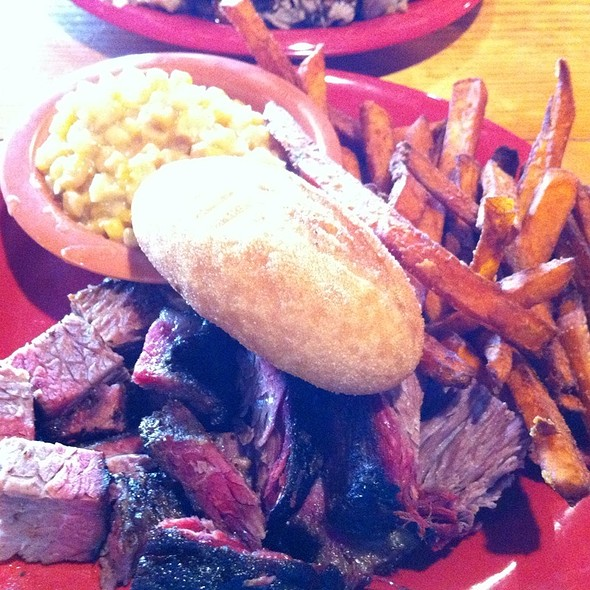 Burnt Ends With Sweet Potato Fries And Cheesy Corn