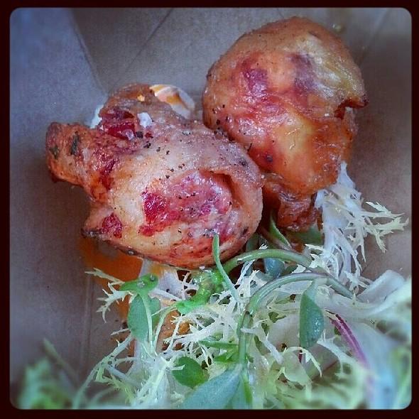 Lobster in crispy chicken skin, blue cheese, hot sauce vinaigrette @ The Gage