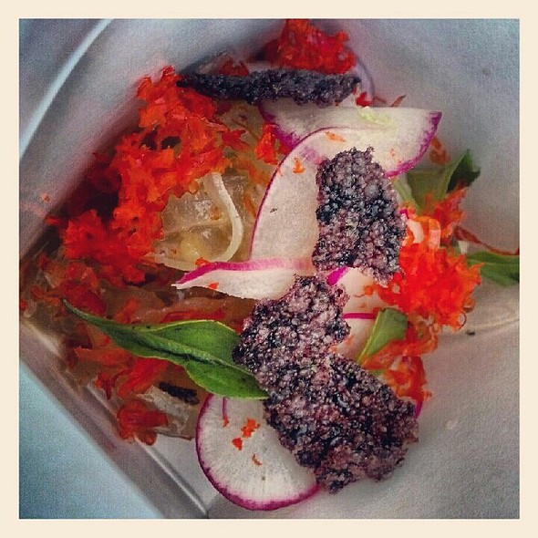 Lobster pad thai with pig skin noodles, radishes, dehydrated lobster roe, black rice cracker @ Trenchmen