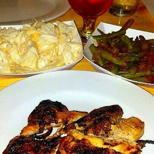 Grilled Half Chicken, Spicy Cabbage Slaw, Green Beans In Tomato-ginger Sofrito @ Pecking Order