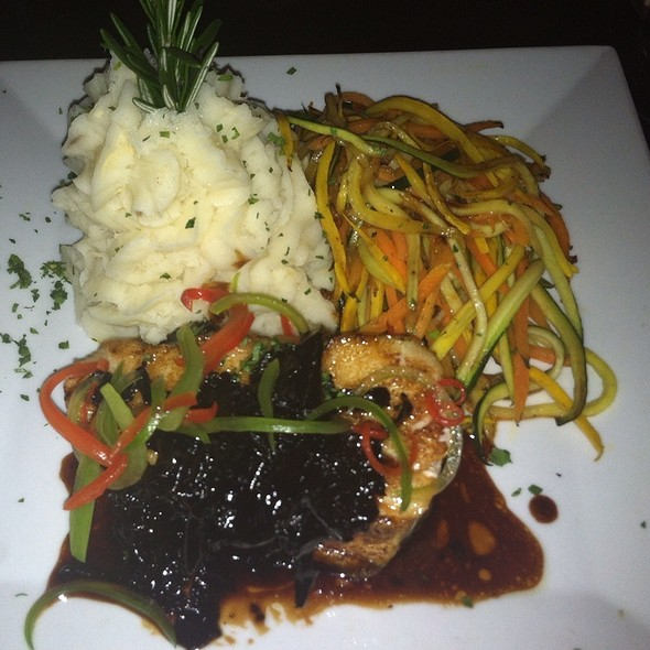 Miso Marinated Chilean Sea Bass: Served With Ginger Mashed Potatoes, Julienned Vegetables Black Trumpet Mushrooms Laced With Truffle Oil - Teak on the Hudson, Hoboken, NJ
