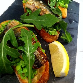 Grilled Sardine Toasts With Minted Peas