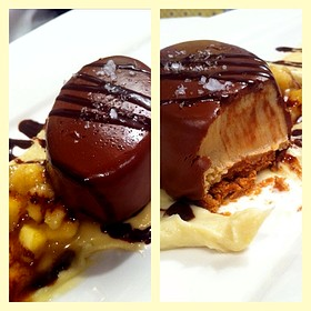 Chocolate Peanut Butter Torte With Banana Compote