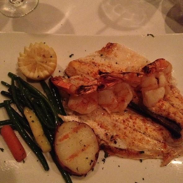 Sea Bass With Shrimp & Veggies - Cafe Avanti Restaurant, Miami Beach, FL
