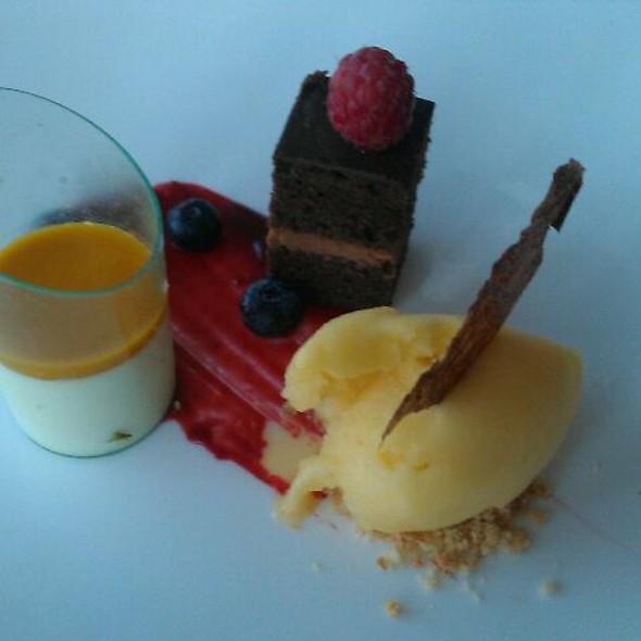 Passion fruit sorbet, chocolate cake, panna cotta, mango sauce @ Ocean Club