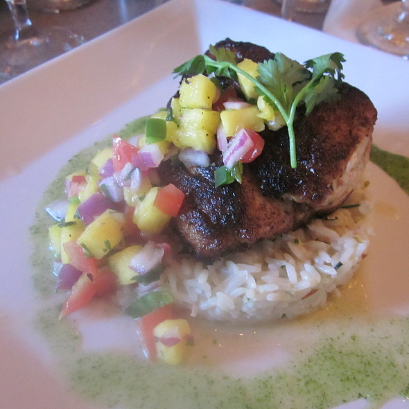Jerk Rubbed Sea Bass, Mango Salsa, Coconut rice with Cilantro sauce  - The View at Morgan Hill, Easton, PA
