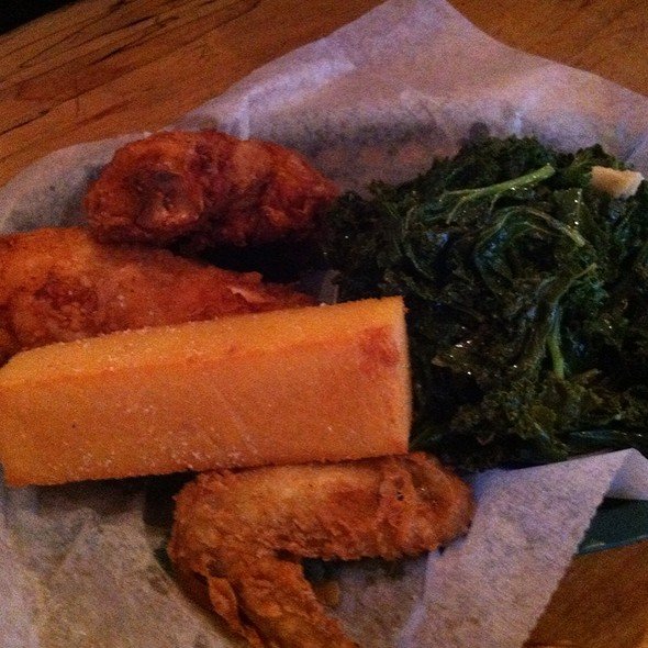 Fried Chicken With Garlic Kale  @ Dirty Bird To Go
