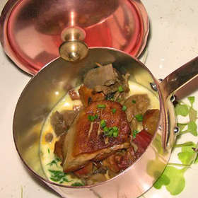 Seared Duck Foie Gras with Wild Mushrooms and Creamy Spinach