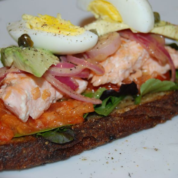 Open Faced Grilled Salmon Sandwich on Rye @ Simmer Shutter