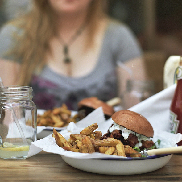 Cheese Burger With Triple-Cooked Rosemary Salted Chips @ Honest Burgers