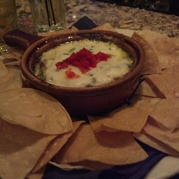Tortilla Chips with Spinach Artichoke Dip @ Black Steer Charhouse