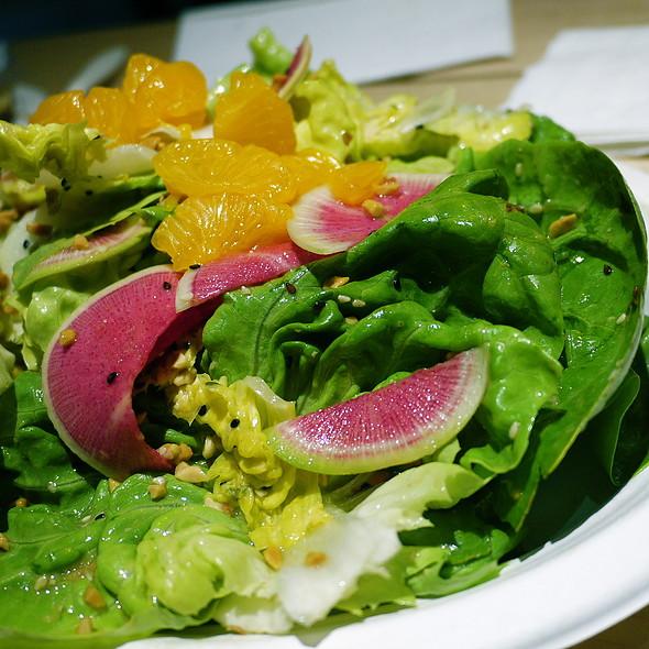 Occidental Asian salad, mizuna, crispy wonton, orange, sesame, watermelon radish, toasted peanuts