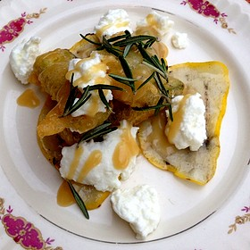 Fried Zuccini With Ricotta And Maple Syrup