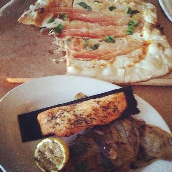 Salmon W/ Roasted Fennel & Pizza Margherita @ Little Dom's
