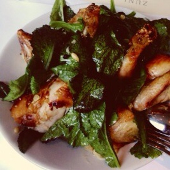 Chicken For Two, Warm Bread Salad, Red Mustard Greens @ Zuni Cafe