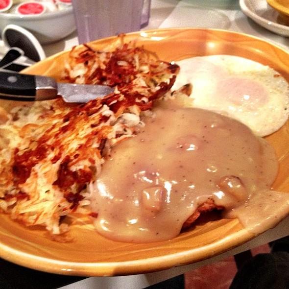 Country fried steak & eggs! @ Christie's Restaurant