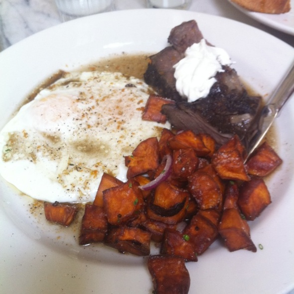Fried Eggs, Short Ribs, And Sweet Potatoe Homefries @ Universal Cafe