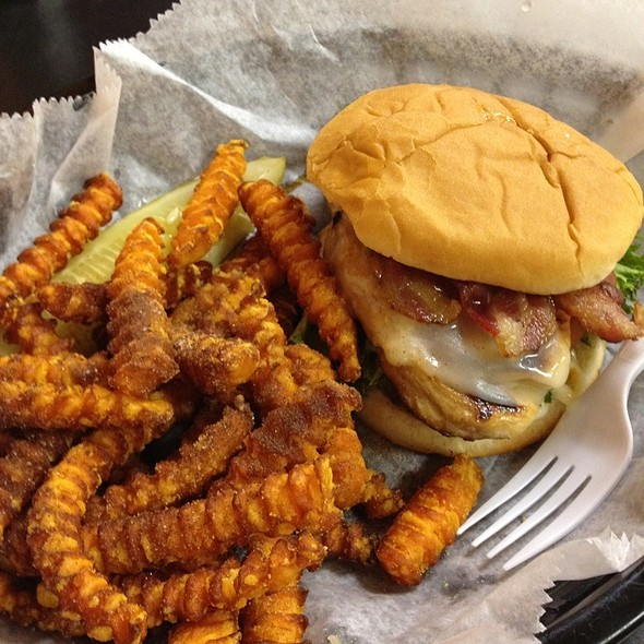 Grilled Chicken Sandwich With Bacon And Sweet Potato Fries @ Famous Uncle Al's Hot Dogs