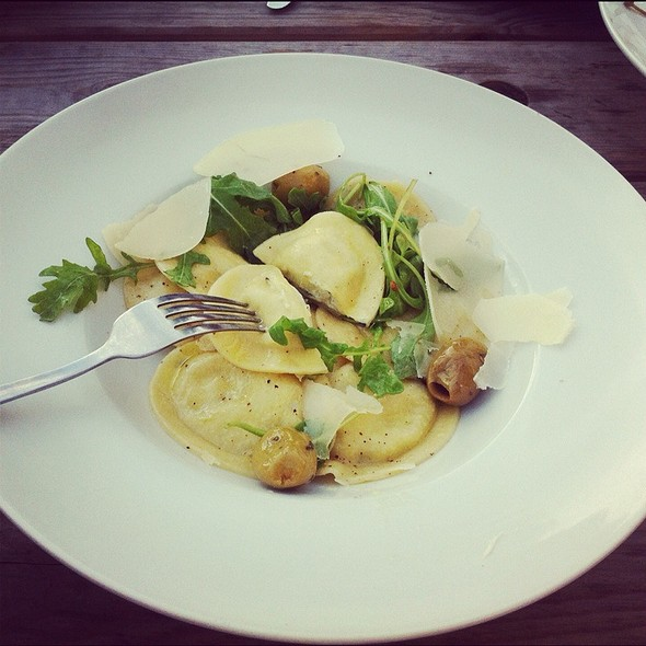 Buffalo mozzarella and black olive ravioli @ Cafe Restaurant Kostverloren