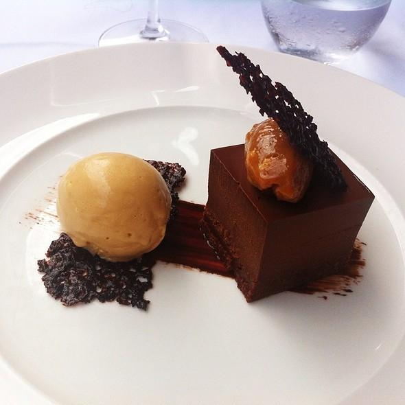 Chocolate Marquise, Peanut Butter & Salted Caramel Ice Cream - La Trompette, London