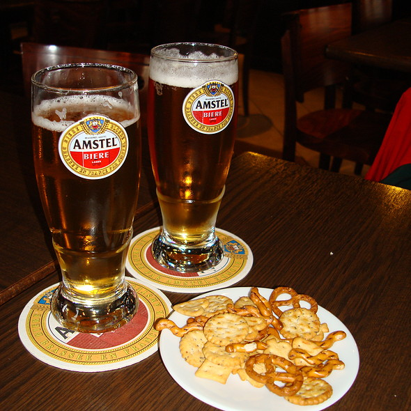 Amstel beer and bar snacks