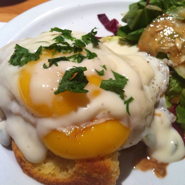 Sunny Side Up Eggs Over Cornbread W/ Jalapeno Cheddar Sauce @ Ants Pants Cafe
