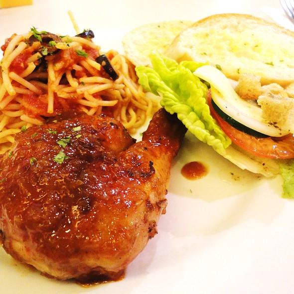 Roast Chicken with Salad and Pasta Putanesca
