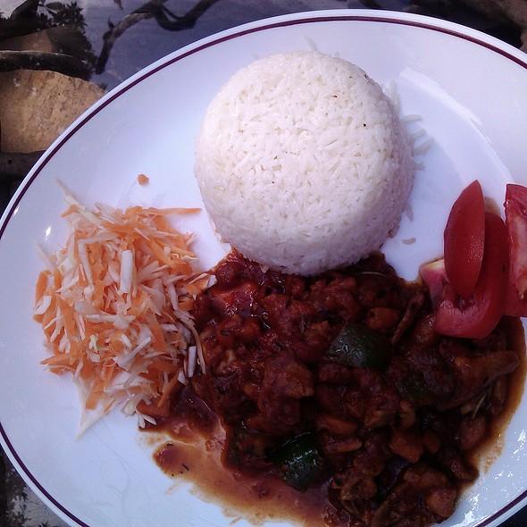Rice with Stewed Chicken @ Plaza Beach Hotel