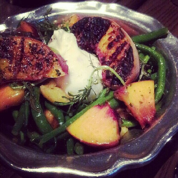 Haricot Verts with Grilled Peaches, Garam Masala and Burrata