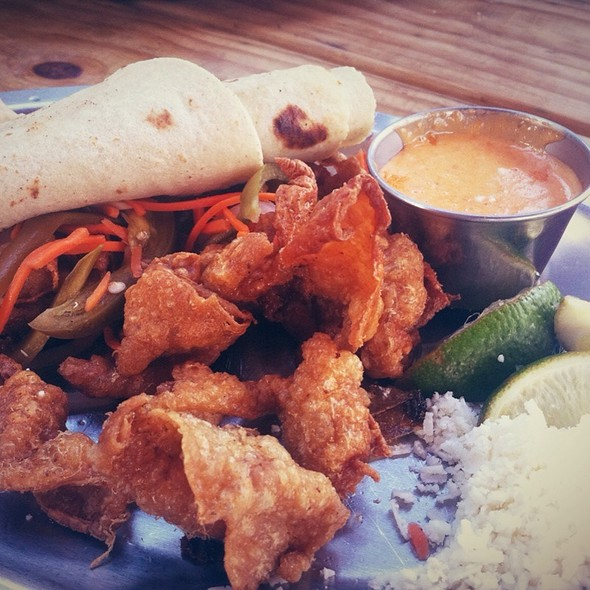 Fried Chicken Skin Taco @ Woodshed Smokehouse